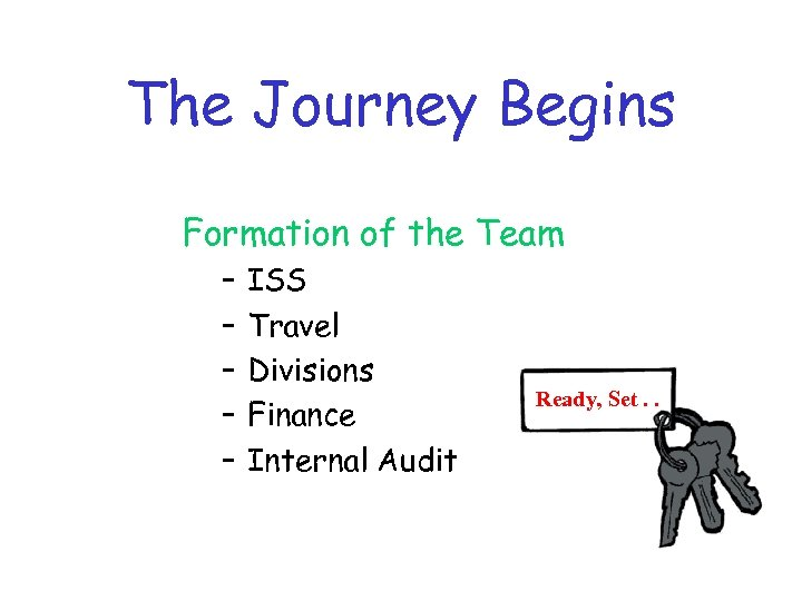 The Journey Begins Formation of the Team – – – ISS Travel Divisions Finance