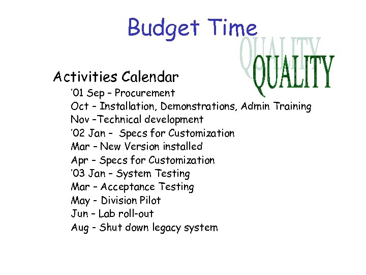 Budget Time Activities Calendar ' 01 Sep – Procurement Oct – Installation, Demonstrations, Admin