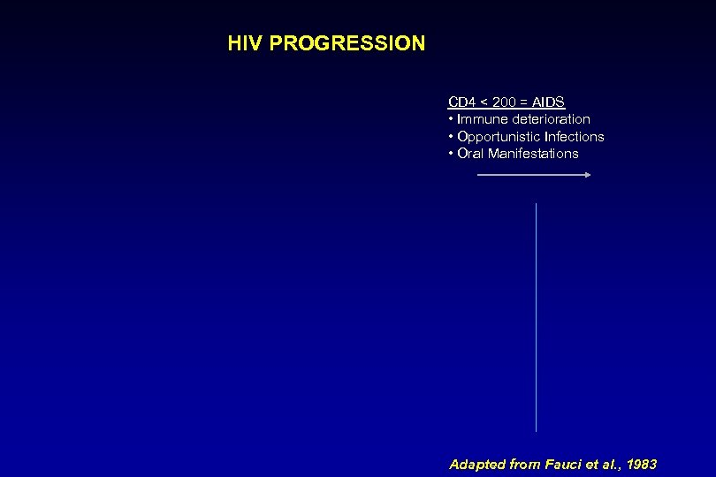 HIV PROGRESSION CD 4 < 200 = AIDS • Immune deterioration • Opportunistic Infections