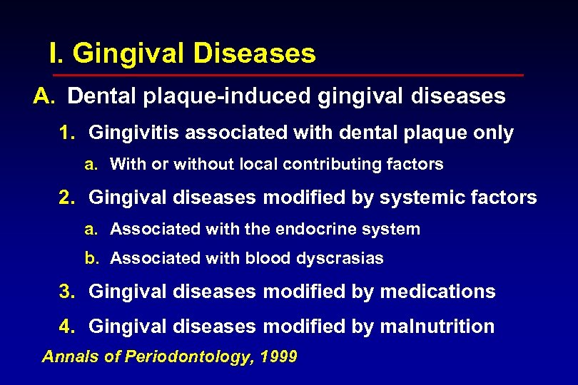 I. Gingival Diseases A. Dental plaque-induced gingival diseases 1. Gingivitis associated with dental plaque