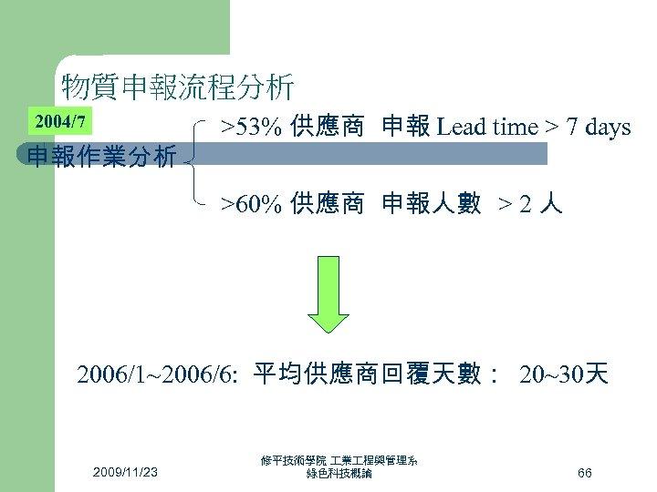 物質申報流程分析 2004/7 申報作業分析 >53% 供應商 申報 Lead time > 7 days >60% 供應商 申報人數