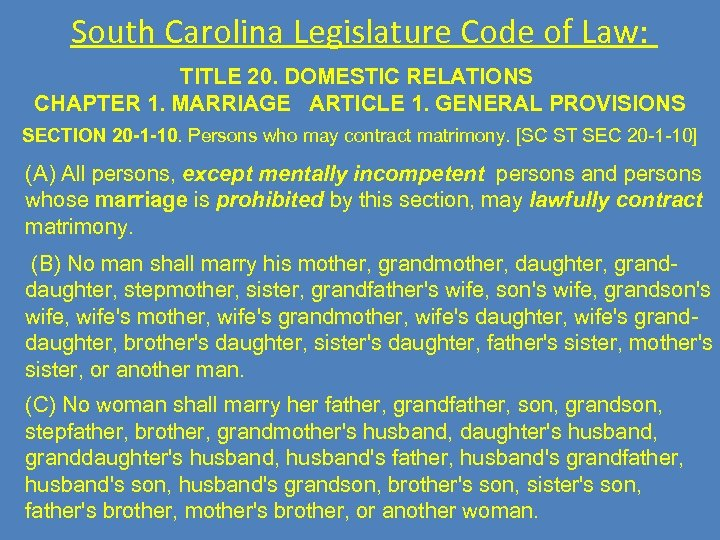 South Carolina Legislature Code of Law: TITLE 20. DOMESTIC RELATIONS CHAPTER 1. MARRIAGE ARTICLE
