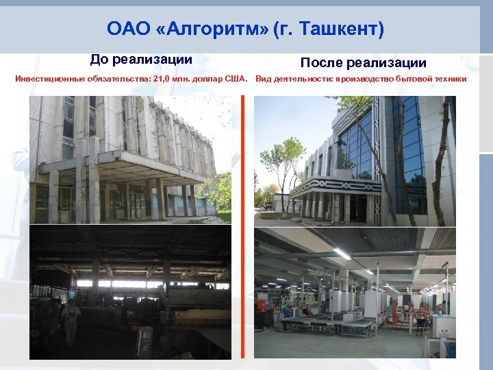 ОАО «Алгоритм» (г. Ташкент) До реализации После реализации Инвестиционные обязательства: 21, 0 млн. доллар