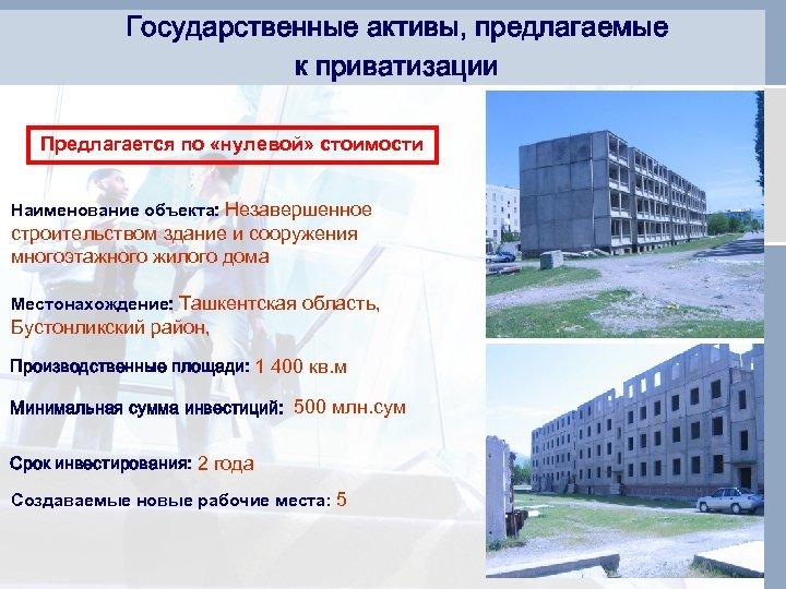Государственные активы, предлагаемые к приватизации Предлагается по «нулевой» стоимости Наименование объекта: Незавершенное строительством здание