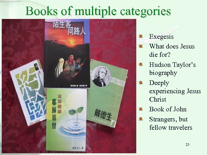 Books of multiple categories Exegesis What does Jesus die for? Hudson Taylor's biography Deeply