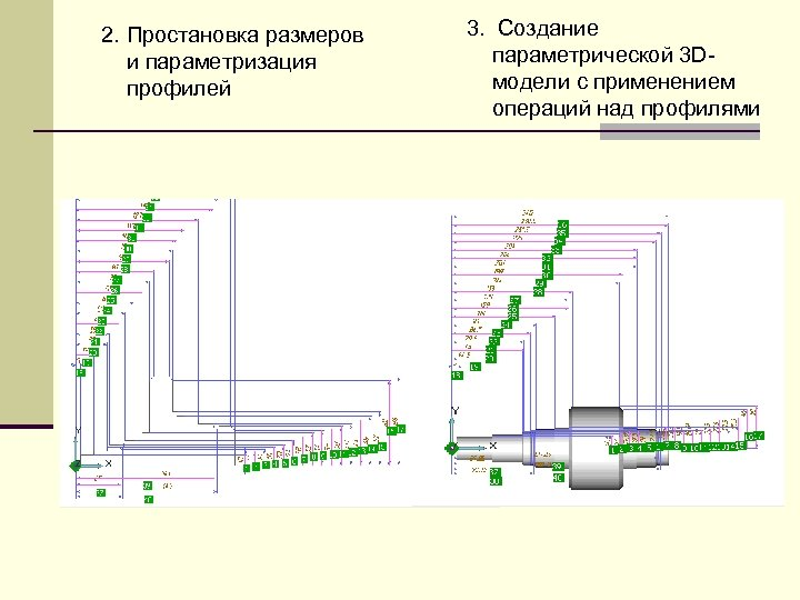 2. Простановка размеров и параметризация профилей 3. Создание параметрической 3 Dмодели с применением операций