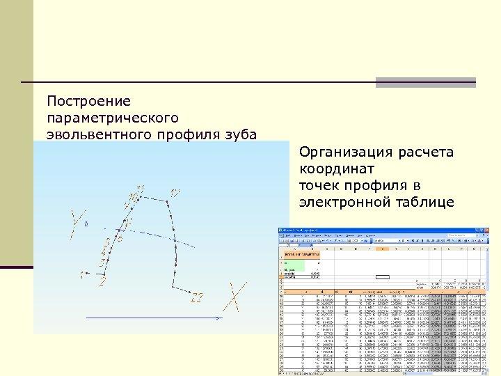 Построение параметрического эвольвентного профиля зуба Организация расчета координат точек профиля в электронной таблице