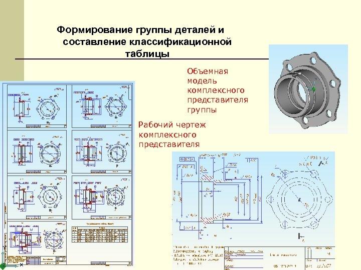 Формирование группы деталей и составление классификационной таблицы Объемная модель комплексного представителя группы Рабочий чертеж