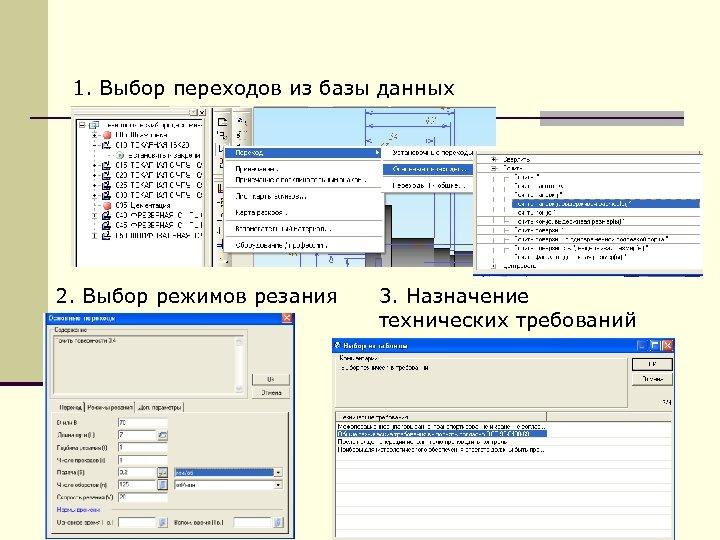 1. Выбор переходов из базы данных 2. Выбор режимов резания 3. Назначение технических требований