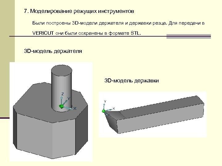 7. Моделирование режущих инструментов Были построены 3 D-модели держателя и державки резца. Для передачи