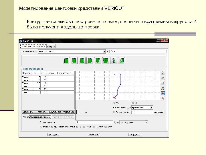 Моделирование центровки средствами VERICUT Контур центровки был построен по точкам, после чего вращением вокруг