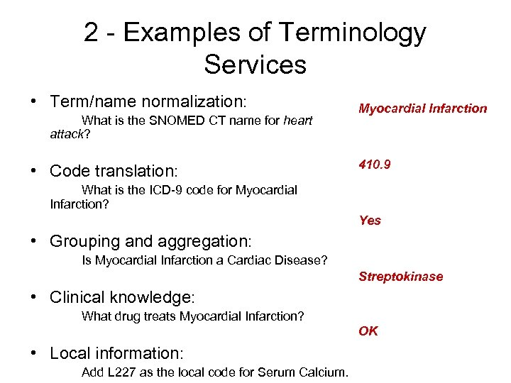 2 - Examples of Terminology Services • Term/name normalization: What is the SNOMED CT