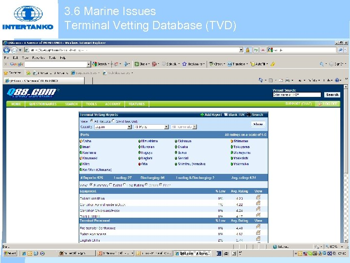 3. 6 Marine Issues Terminal Vetting Database (TVD)