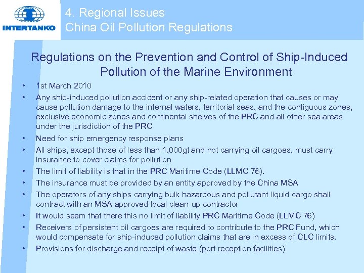 4. Regional Issues China Oil Pollution Regulations on the Prevention and Control of Ship-Induced