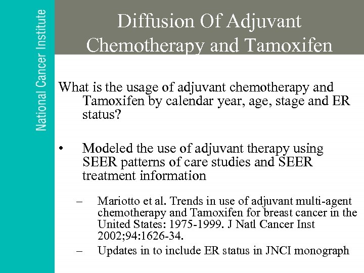 Diffusion Of Adjuvant Chemotherapy and Tamoxifen What is the usage of adjuvant chemotherapy and