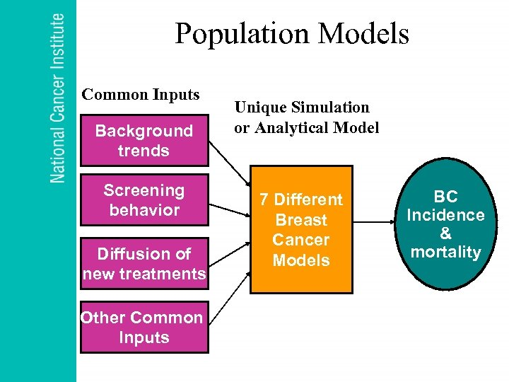 Population Models Common Inputs Background trends Screening behavior Diffusion of new treatments Other Common