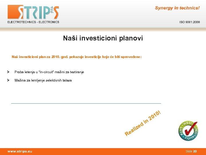 Naši investicioni planovi Naš investicioni plan za 2010. god. pokazuje investicije koje će biti