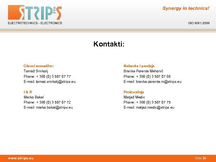 Kontakti: Glavni menadžer: Tomaž Smrkolj Phone: + 386 (0) 3 567 07 77 E-mail: