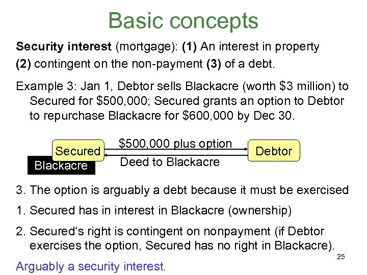 Basic concepts Security interest (mortgage): (1) An interest in property (2) contingent on the