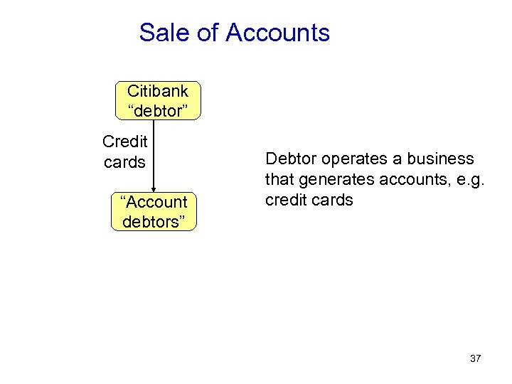 "Sale of Accounts Citibank ""debtor"" Credit cards ""Account debtors"" Debtor operates a business that"
