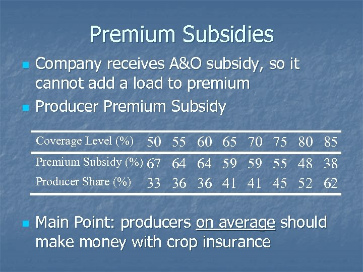 Premium Subsidies n n Company receives A&O subsidy, so it cannot add a load