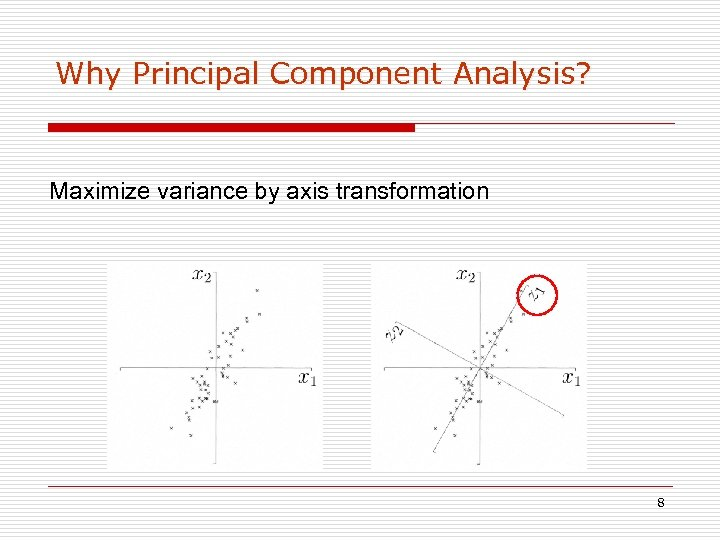 Why Principal Component Analysis? Maximize variance by axis transformation 8