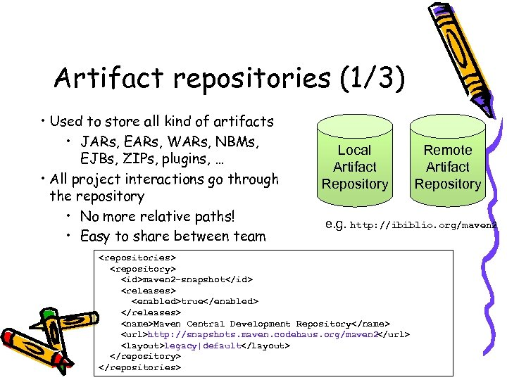 Artifact repositories (1/3) • Used to store all kind of artifacts • JARs, EARs,
