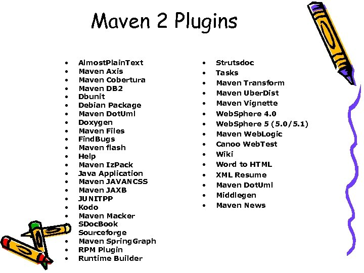 Maven 2 Plugins • • • • • • Almost. Plain. Text Maven Axis