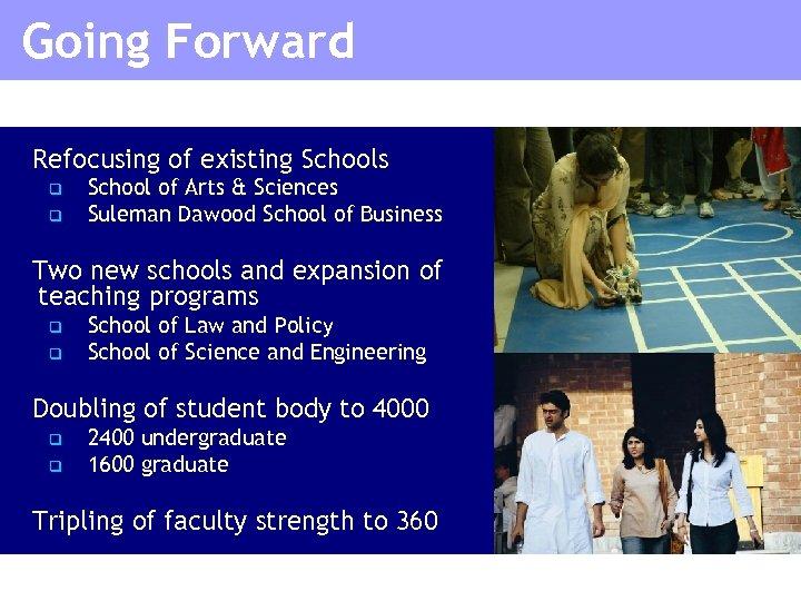 Going Forward Refocusing of existing Schools q q School of Arts & Sciences Suleman