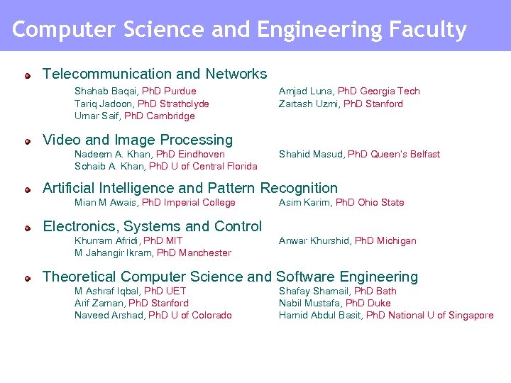Computer Science and Engineering Faculty Telecommunication and Networks Shahab Baqai, Ph. D Purdue Tariq