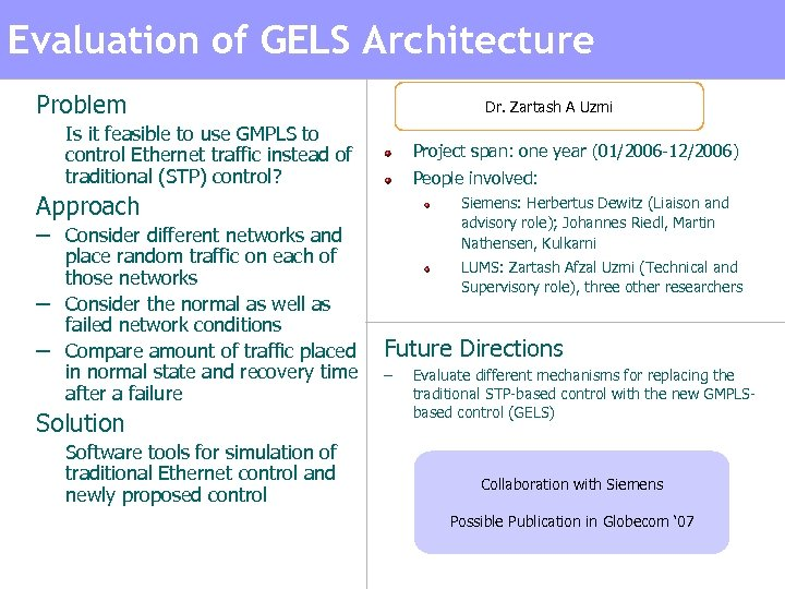 Evaluation of GELS Architecture Problem Dr. Zartash A Uzmi – Is it feasible to