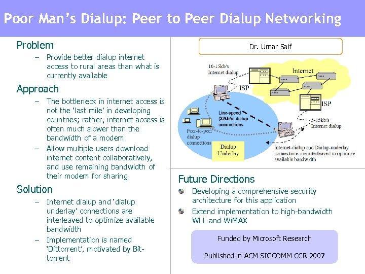 Poor Man's Dialup: Peer-to-Peer Dialup Networking to Peer Dialup Networking Poor Man's Broadband: Problem