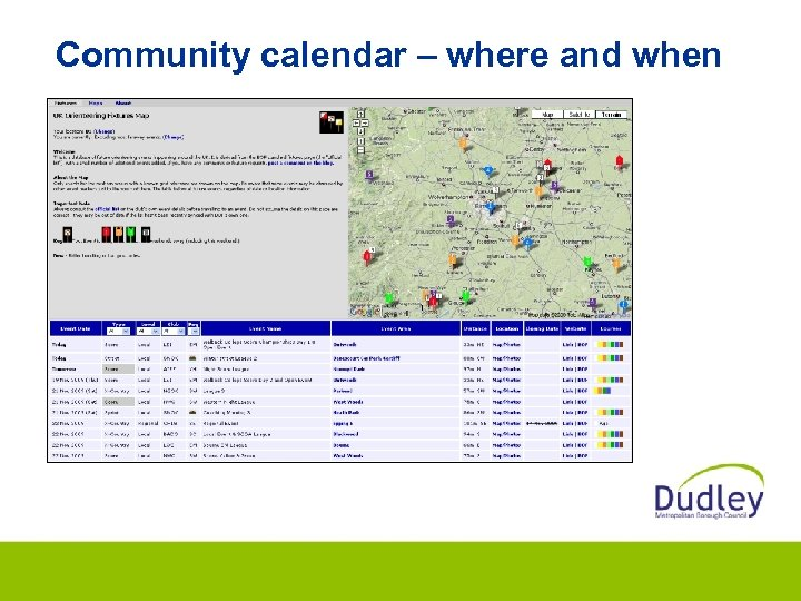 Community calendar – where and when