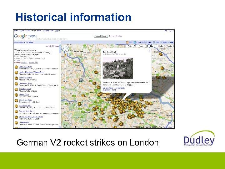 Historical information German V 2 rocket strikes on London