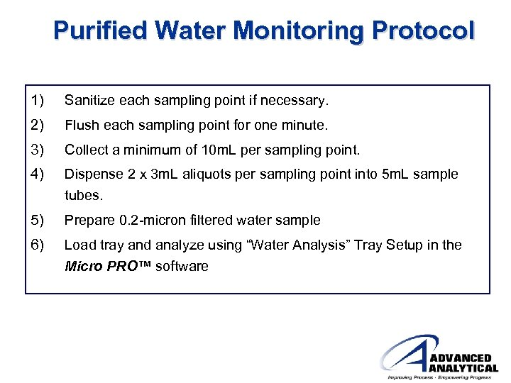 Advanced Analytical Micro PRO Overview of Today s