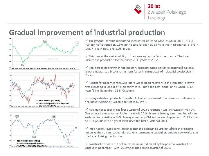 Gradual improvement of industrial production ü The gradual increase in seasonally adjusted industrial