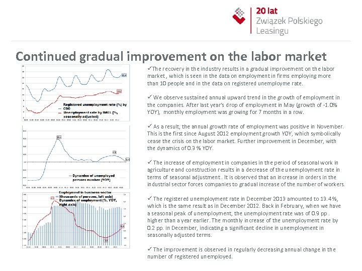 Continued gradual improvement on the labor market üThe recovery in the industry results