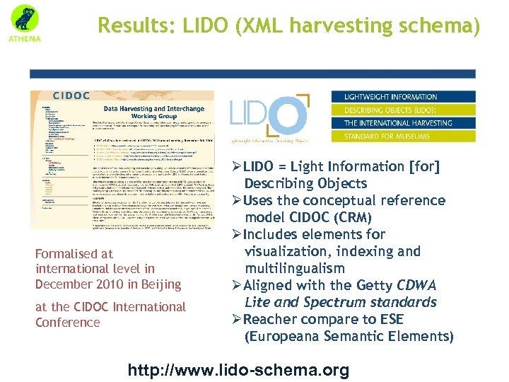 Results: LIDO (XML harvesting schema) Formalised at international level in December 2010 in Beijing