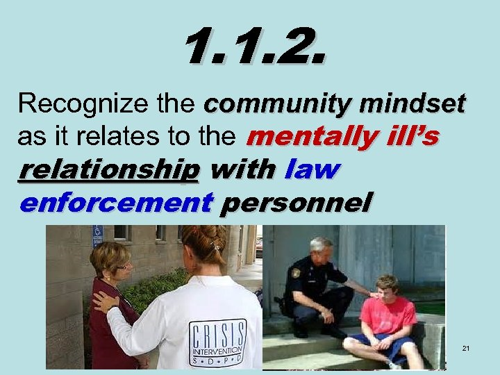 1. 1. 2. Recognize the community mindset as it relates to the mentally ill's
