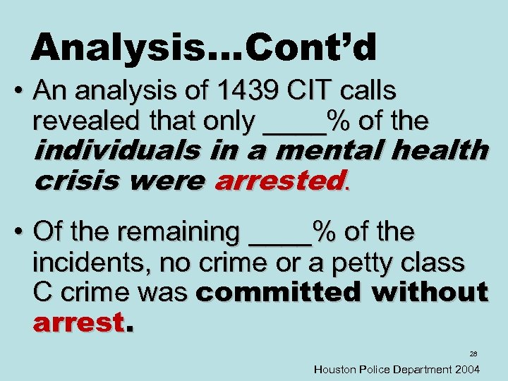 Analysis…Cont'd • An analysis of 1439 CIT calls revealed that only ____% of the