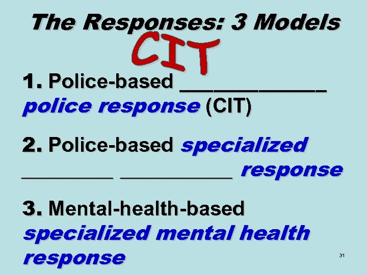 The Responses: 3 Models 1. Police-based _______ police response (CIT) 2. Police-based specialized ___________