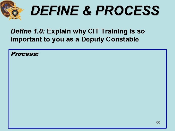 DEFINE & PROCESS Define 1. 0: Explain why CIT Training is so important to
