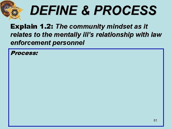 DEFINE & PROCESS Explain 1. 2: The community mindset as it relates to the