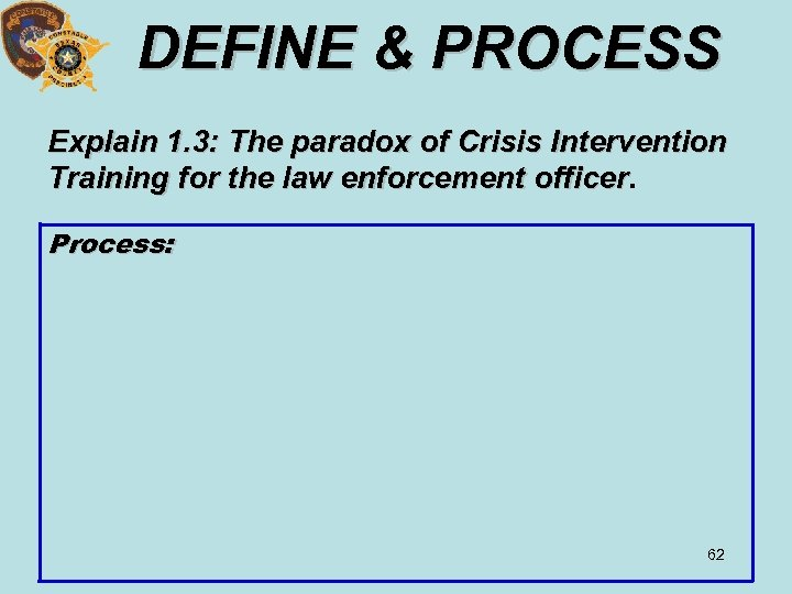 DEFINE & PROCESS Explain 1. 3: The paradox of Crisis Intervention Training for the