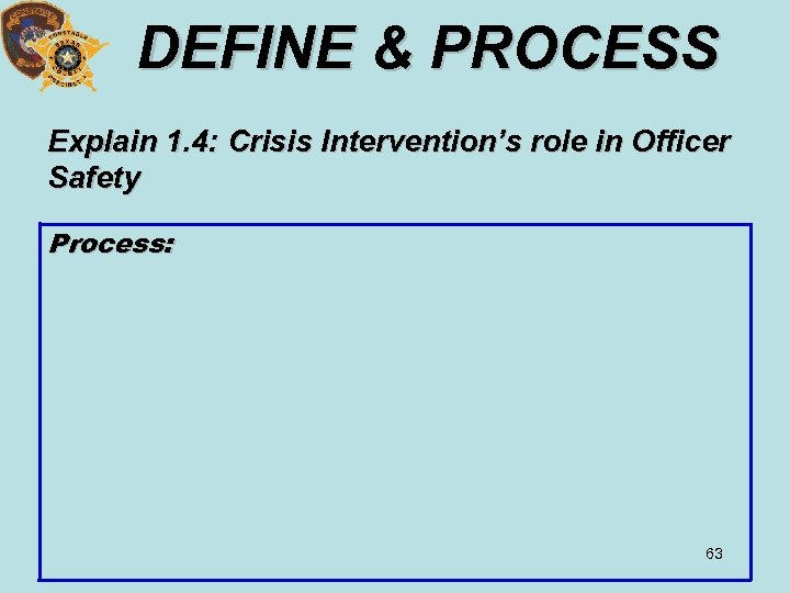 DEFINE & PROCESS Explain 1. 4: Crisis Intervention's role in Officer Safety Process: 63
