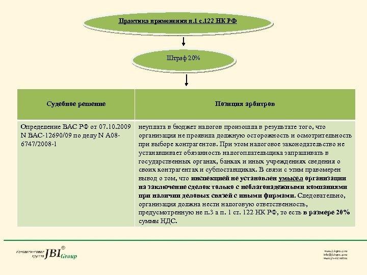 Практика применения п. 1 с. 122 НК РФ Штраф 20% Судебное решение Позиция арбитров