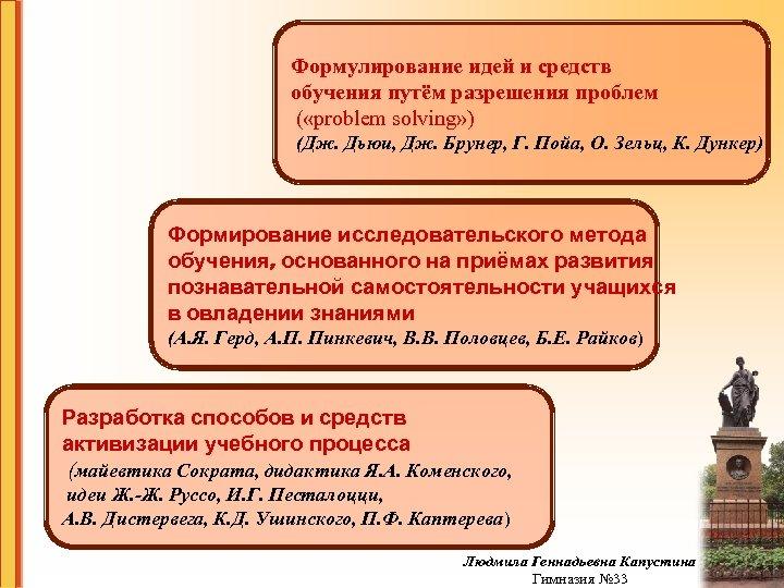 Формулирование идей и средств обучения путём разрешения проблем ( «problem solving» ) (Дж. Дьюи,