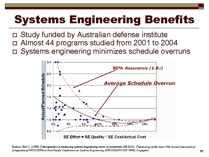 Systems Engineering Benefits o o o Study funded by Australian defense institute Almost 44