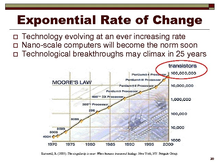 Exponential Rate of Change o o o Technology evolving at an ever increasing rate