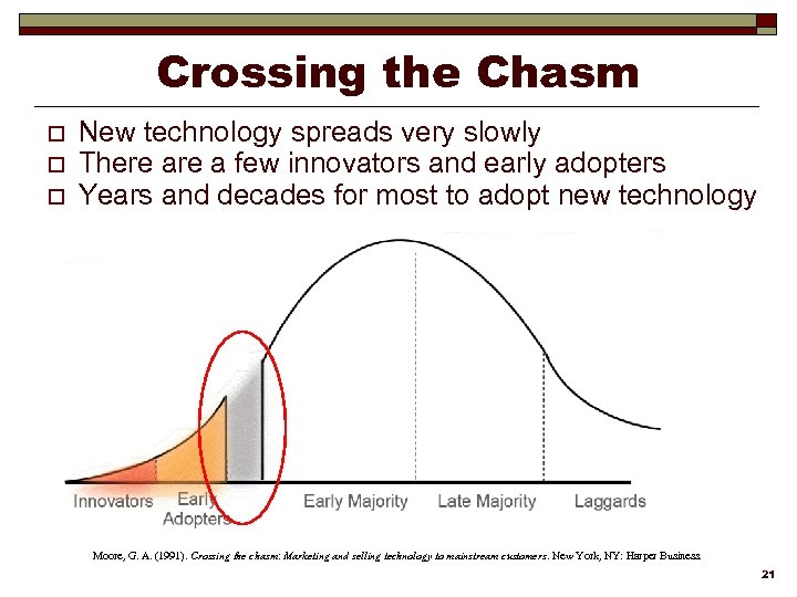 Crossing the Chasm o o o New technology spreads very slowly There a few